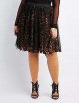 Charlotte Russe Plus Size Leopard Tulle Overlay Skirt