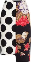 MSGM Asymmetric polka-dot crepe pencil skirt