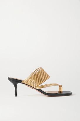 Aquazzura Sunny Metallic Leather Sandals - Black