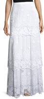 Miguelina Clarity Tiered Floral Lace Maxi Skirt, Pure White