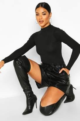 boohoo Leather Look Tie Waist Shorts