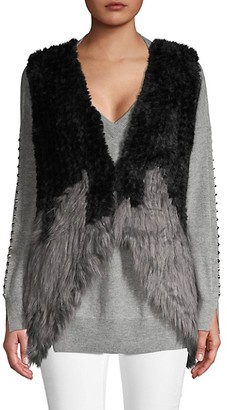 DOLCE CABO Colorblock Faux Fur Vest
