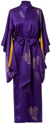 Castlebird Rose Maxi Silk Kimono Royal Purple