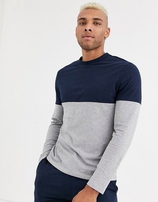 Asos Design DESIGN organic long sleeve t-shirt with contrast yoke in gray marl