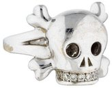 Christian Dior 18K Tete De Mort Diamond Skull Ring