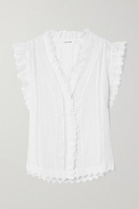 Frame Lauren Crochet-trimmed Broderie Anglaise Ramie Top - White