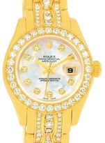 Rolex Pearlmaster 80298 18K Yellow Gold with White Mother of Pearl 29mm Womens Watch