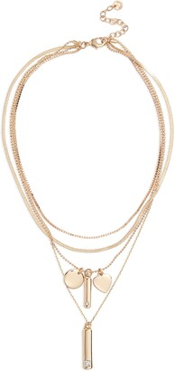 Halogen Tiered Luxe Multi Chain Charm Pendant Necklace