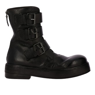 Marsèll Zuccolona Leather Ankle Boots With Three Buckles And Zip
