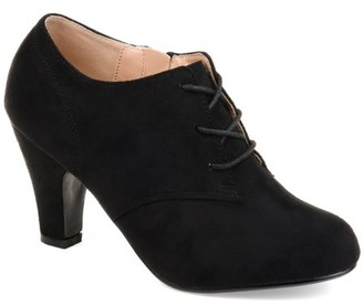 Brinley Co. Women's Wide Width Vintage Round Toe High Heel Lace-up Faux Suede Booties