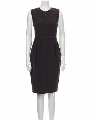 Chloé Crew Neck Knee-Length Dress Brown