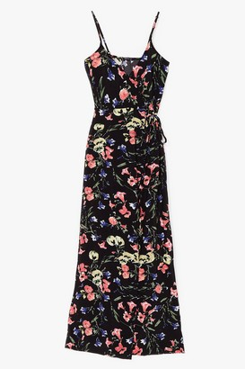Nasty Gal Womens Thanks a Bunch Floral Wrap Maxi Dress - Black - 4, Black