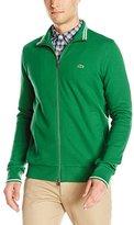 Lacoste Men's Full Zip Pique Mock Neck Sweatshirt with Stripe Detail