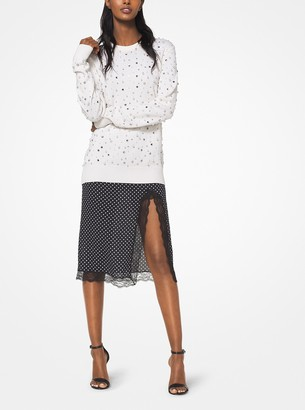 Michael Kors Pearl and Crystal Embroidered Cashmere Sweater