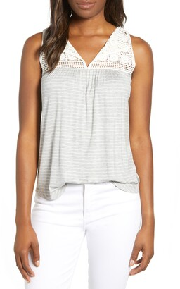 Loveappella Stripe Crochet Yoke Swing Tank Top
