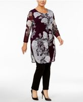 Alfani Plus Size Floral-Print Mesh Tunic, Created for Macy's