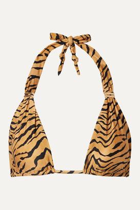 Vix Bia Tiger-print Triangle Bikini Top - Tan
