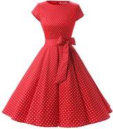 Dressystar Vintage 1950s Polka Dot and Solid Color Party Prom Dresses Rockabilly Cap Sleeves XXL