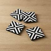 CB2 Set Of 4 Inlay Wood Black And White Coasters