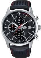 Lorus Mens black leather strap chronograph watch