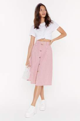 Nasty Gal Womens Then There Was Fireworks Stripe Midi Skirt - red - L