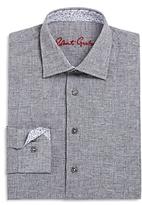 Robert Graham Boys' Basketweave Pattern Linen Blend Dress Shirt - Big Kid
