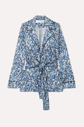 Victoria Victoria Beckham Victoria, Victoria Beckham - Printed Satin-twill Shirt - Blue