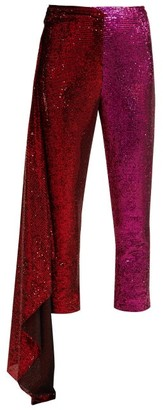 Halpern Draped Sequin-embellished Trousers - Red Multi