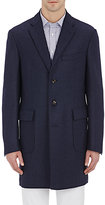Luciano Barbera MEN'S TWILL TOPCOAT-NAVY SIZE XXL