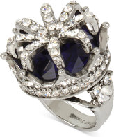 Betsey Johnson Silver-Tone Blue Stone Pavé Crown Ring