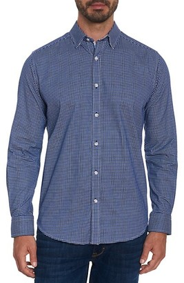 Robert Graham Augusto Tailored-Fit Micro Windowpane Sport Shirt