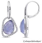 Zales Catherine MalandrinoTM Pear-Shaped Agate and 1/4 CT. T.W. Diamond Geometric Drop Earrings in Sterling Silver