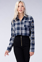 Honey Punch Plaid Cropped Flannel Top