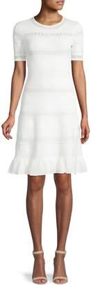 Eliza J Eyelet Textured Fit Flare Dress
