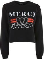 Topshop 'Merci' Cropped Sweatshirt