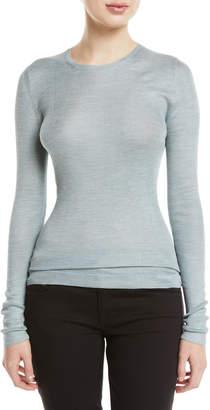 Prada Crewneck Long-Sleeve Silk Sweater