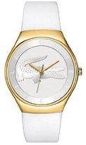 Lacoste 2000763 Women's Valencia White Dial Yellow Gold Plated Steel White Leather Strap Watch