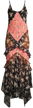 Michael Kors Floral Ruffle Silk Slip Dress