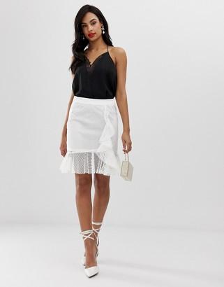 Liquorish lace overlay mini skirt