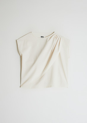MM6 MAISON MARGIELA Women's Drape Top in Ivory, Size 38 | Polyester/Elastane