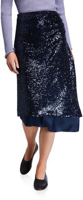 Sies Marjan Sequined Asymmetric-Draped Skirt