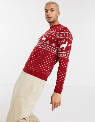 ASOS DESIGN knitted christmas sweater in red reindeer design