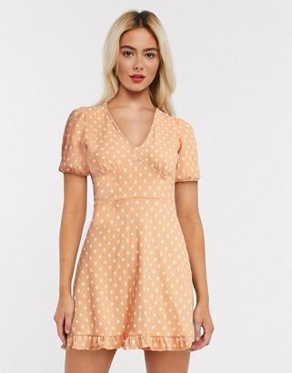 Miss Selfridge polka dot mini dress in pale peach