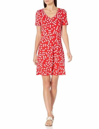 Amazon Essentials Women's Short-Sleeve V-Neck Swing Dress