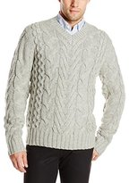 DKNY Men's Long Sleeve Lux Cable V-Neck Sweater