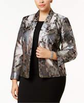 Kasper Plus Size Kiss-Front Floral Jacket