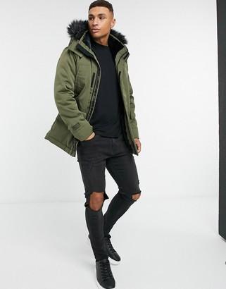 Hollister faux fur lined hooded parka coat in olive green