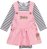 Juicy Couture Striped Bodysuit & Twill Jumper Set (Baby Girls 3-9M)