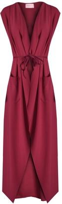 Verso Fashion Womens Ladies Maxi Sleeveless Waterfall Belted Duster Coat Jacket (XL (UK 16-18)