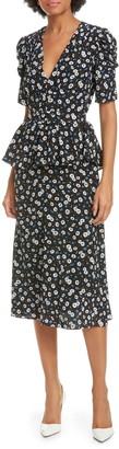 Michael Kors Floral Crepe de Chine Peplum Dress